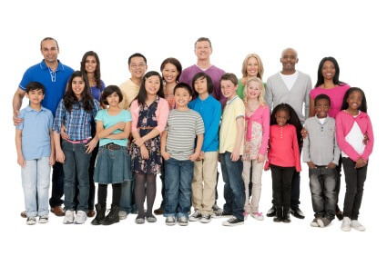 Group of families, all ethnicities