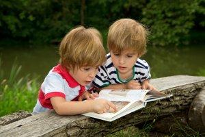 Twin boys reading