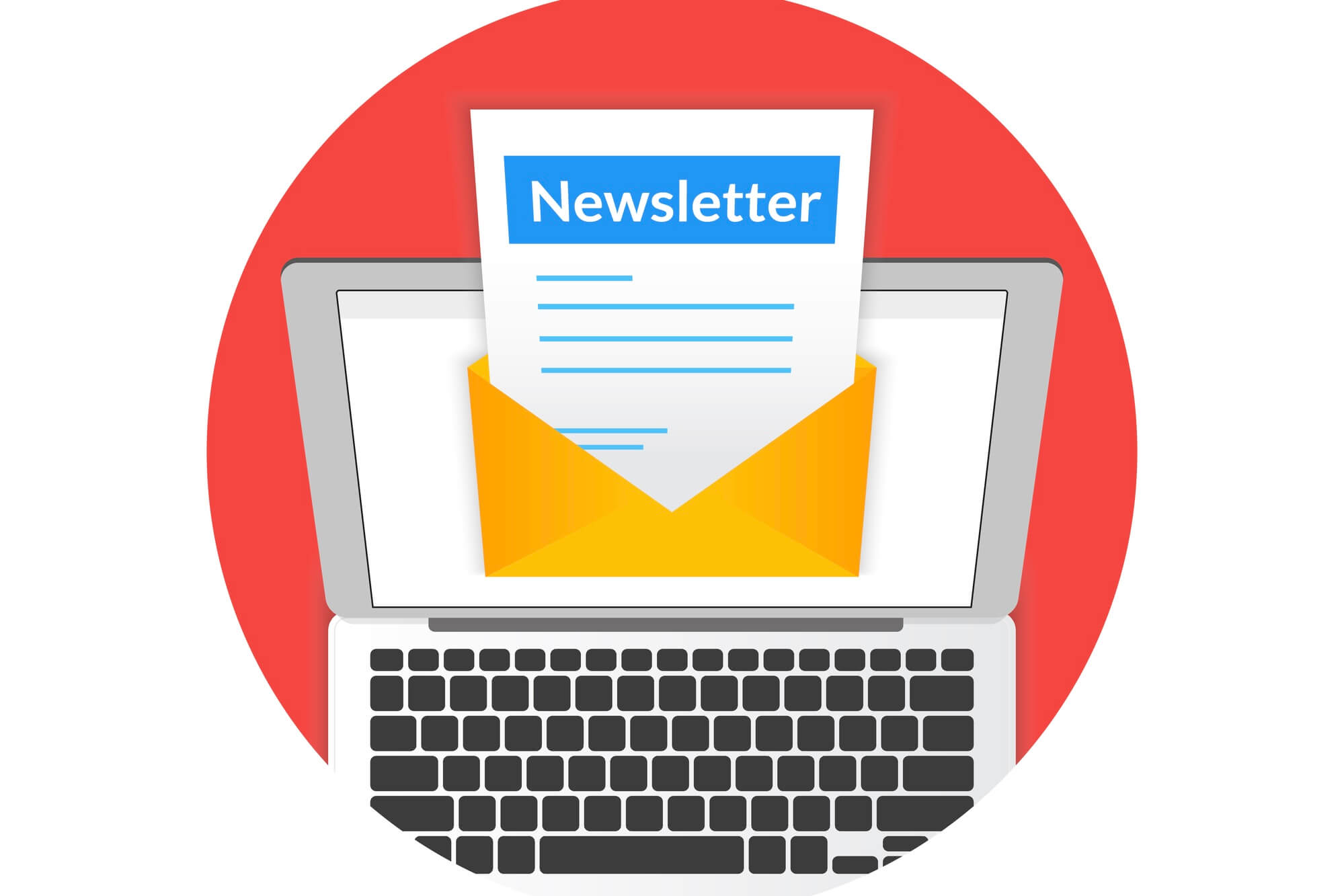 Newsletter illustration with laptop isolated round red icon